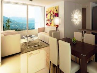 Una sala de estar llena de muebles y una gran ventana en Altos de Valparaíso
