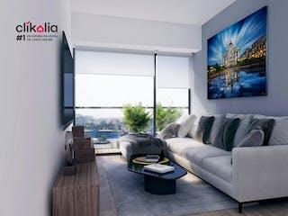 Una sala de estar llena de muebles y una pintura en Departamento en venta en Narvarte de 2 recámaras