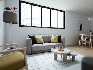 Una sala de estar llena de muebles y una gran ventana en Departamento en venta en Del Valle, de 74mtrs2