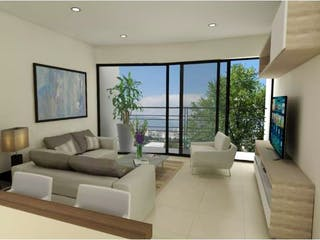 Una sala de estar llena de muebles y una televisión de pantalla plana en Departamento en venta en Nápoles de 63m²