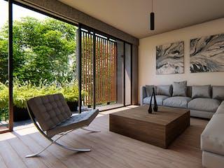 Una sala de estar llena de muebles y una gran ventana en Gutierrez Zamora 85