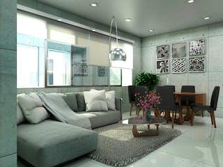 Una sala de estar llena de muebles y una planta en maceta en VENDO DEPARTAMENTO EN BENITO JUÁREZ, NATIVITAS