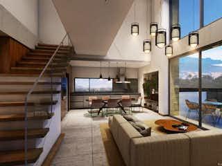 Una sala de estar llena de muebles y una gran ventana en We