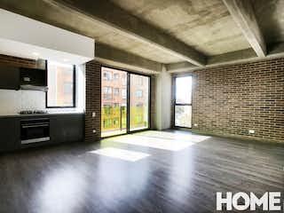 Una vista de una sala de estar y una sala de estar en APARTAMENTO CON DISEÑO INDUSTRIAL DE 2HABS – VENTA – Cra 3A Cll54 – CHAPINERO ALTO