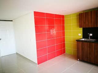 Un cuarto de baño que tiene un suelo de baldosas rojas en Apartamento en venta en Madera, de 64mtrs2