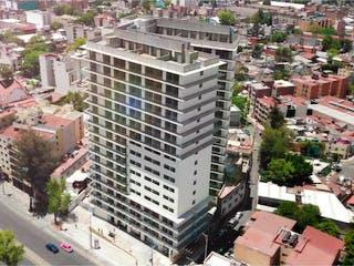 Una calle de la ciudad llena de muchos edificios altos en Departamento en venta en Anáhuac con Jardín...