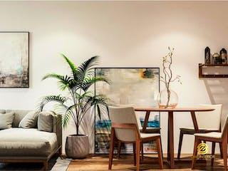 Una sala de estar llena de muebles y una planta en maceta en Departamento en venta en Narvarte 65m² con Jardín...
