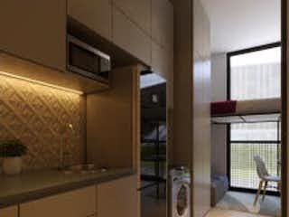 Una cocina con nevera y una ventana en Apartamento en venta en Chapinero Alto de 1 habitación