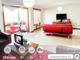 Una sala de estar llena de muebles y una ventana en Apartamento en venta sector conquistadores