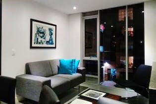 Apartamento En Venta En Bogota La Calleja-Usaquén sala con chimenea en bioetanol.