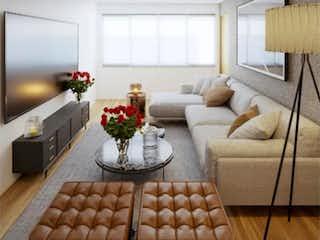 Una sala de estar llena de muebles y una chimenea en Departamento en venta en Colonia Cuauhtémoc 98m²
