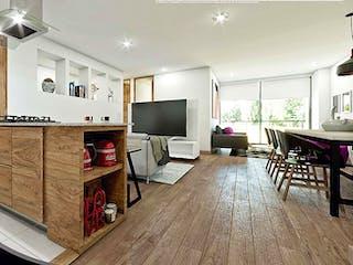 Una sala de estar llena de muebles y una televisión de pantalla plana en KD AZUL