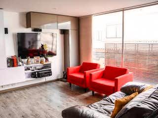 Una sala de estar llena de muebles y una chimenea en Apartamento en venta en San Patricio, 80mt con balcon