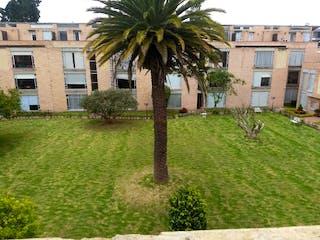 Un árbol grande en una zona herbosa cerca de un edificio en Hermosa Casa Cajica conjunto Poblado Guachancio