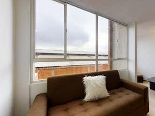 Una sala de estar llena de muebles y una gran ventana en Apartamento en venta en Alquería de 2 hab. con Bbq...