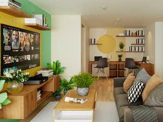 Una sala de estar llena de muebles y una mesa en Apartamento de 107tm2 Ubicado en Chapinero Central