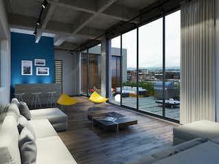 Una sala de estar llena de muebles y una gran ventana en Canvas