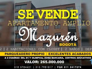 Apartamento en venta en Prado Pinzón 65m²