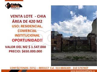 Lote en venta en Casco Urbano Chía de 420m²