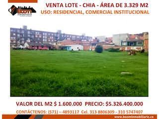 Uso Vivienda Comercio Chia, Lote en venta en La Balsa de 3329m²
