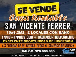 Casa en venta en San Vicente de 2 alcoba