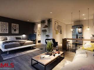 Una sala de estar llena de muebles y una chimenea en Wall