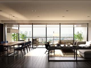 Una sala de estar llena de muebles y una gran ventana en Club Residencial Bosques