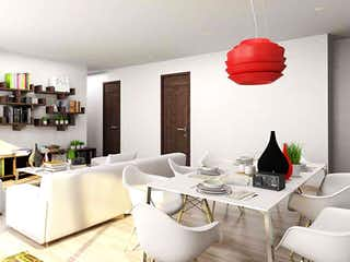 Una sala de estar llena de muebles y una mesa en Spazio Torre San Ángel