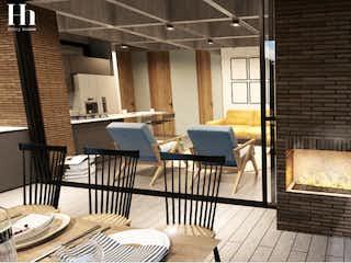 Una vista de una sala de estar y comedor en Hobby Homes