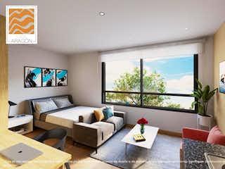 Una sala de estar llena de muebles y una televisión de pantalla plana en Torre Aragón (VIS)