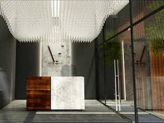 Un banco de madera sentado delante de un edificio en Vicente Eguía 47