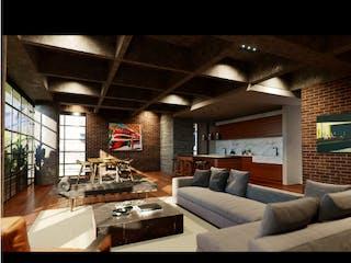 Una sala de estar llena de muebles y una gran ventana en Obra Escondida