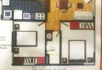 Apartamento en Contador, Cedritos - 52mt, dos alcobas