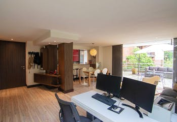 Apartamento en Los Balsos, Poblado - 105mt, una alcobas, terraza privada