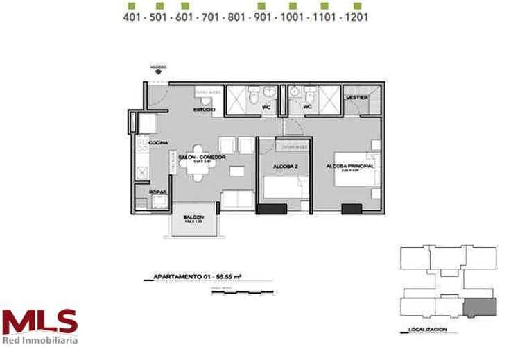 No se ha identificado el tipo de imágen para apartamento en la candelaria-bombona, con 2 alcobas - 56.55 mt2.