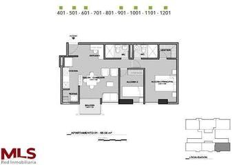 Apartamento en La Candelaria-Bombona, con 2 Alcobas - 56.55 mt2.