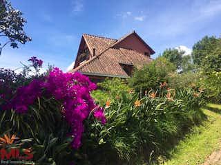 Un arreglo floral delante de una casa en Sierralta