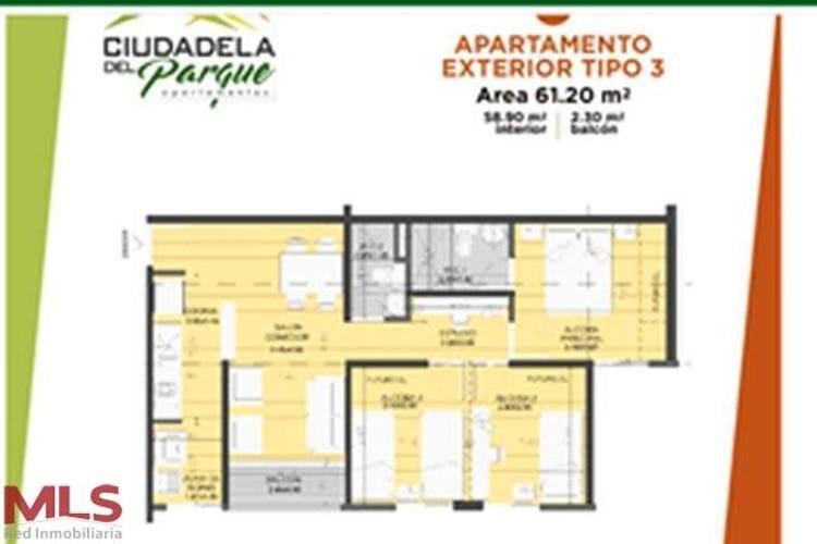 Foto 6 de Apartamento en Itagui, Santa Maria - 60mt, dos alcobas, balcón