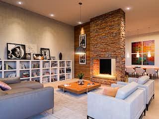 Una sala de estar llena de muebles y una televisión de pantalla plana en San Antonio Campestre Lotes