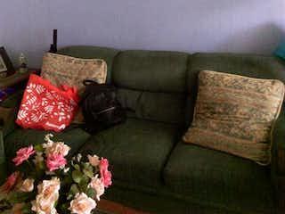 Una sala de estar llena de muebles y una alfombra rosa en Departamento en venta en Jardín Balbuena, 65mt