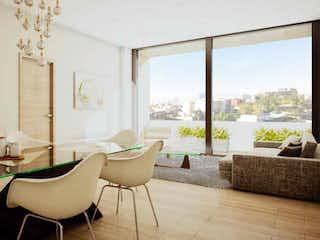 Una sala de estar llena de muebles y una gran ventana en Departamento en venta en Anáhuac, de 121mtrs2