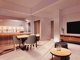 Una sala de estar llena de muebles y una televisión de pantalla plana en Eucalipto