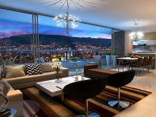 Una sala de estar llena de muebles y una lámpara de araña en San Martin Apartamentos